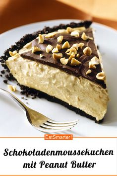 Chocolate mousse cake with peanut butter - Schokokuchen Rezepte - Healthy Peanut Butter, Peanut Butter Recipes, Chocolate Peanut Butter, Chiffon Cake, Healthy Dessert Recipes, Delicious Desserts, Healthy Meals, Healthy Eating, Peanuts