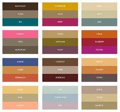 Custom printed color combinations for fall weddings. Color inspiration: top right and bottom left palettes