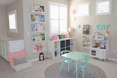 Pretty in Pastels Playroom A pretty in pastels playroom. When I designed Elena's Preschool Inspired Playroom, I wanted the room to mimic her days at preschool and it did just that! Dream Playroom: A Best Playroom Design Fun Kids Playroom Idea Playroom Design, Playroom Decor, Playroom Paint Colors, Playroom Table, Wall Decor Kids Room, Vintage Playroom, Baby Wall Decor, Kid Decor, Wall Colors