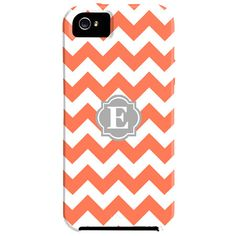 Zigzag Monogrammed iPhone 5 Case in Coral & Gray.