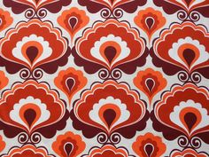 Fab vintage/retro 60's/70's curtain fabric - 1M lengths, large bold fan pattern