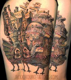 Tattoo from anime movie Howls Moving Castle, by Jacki O'Rourke.  #anime #femaletattooartist