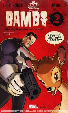 "This spectacular mashup art teams The Punisher up with an unlikely Disney hero… Bambi. The hilarious illustration was created by Marco D'Alfonso for CBR's The Line it is Drawn. I love the piece of Bambi dialogue, ""Tell my mother I said hi!"", and if this was a real animated show, Mark Wahlberg would have to provide the voice of Bambi!"