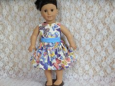 "Sleeveless Summer Dress Fits Amercan Girl, Chatty Cathy, Gotz, Our Generation or other 18"" to 19"" Doll"