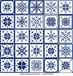 Free Set patchwork knitted with a New Year's snowflake motif. Vector pattern with cross stitch, knitting, patchwork. Cross Stitch Bookmarks, Cross Stitch Borders, Cross Stitch Designs, Cross Stitching, Cross Stitch Patterns, Granny Square Crochet Pattern, Crochet Stitches Patterns, Quilt Patterns, Embroidery Hearts