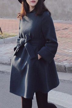 Noble Solid Color Jewel Neck High Waist Belted Dress Wool Coat For Women