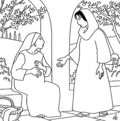 Coloring Sheet Angel And Mary Bing Images Bible Images Sunday School Coloring Pages, Preschool Coloring Pages, Bible Coloring Pages, Horse Coloring Pages, Coloring Sheets, Coloring Books, Kids Sunday School Lessons, Sunday School Crafts, Mary Elizabeth