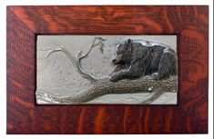 Black bear art tile, Framed Summer Shade relief tile, sculpted inch ceramic tile by MedicineBluffStudio on Etsy Art Installation, Small Leaf, Bear Art, Mold Making, Tile Art, Black Bear, Ceramic Art, Wood Art, Framed Art