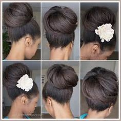 Flat ironed natural hair bunning- _kinky,curly,relaxed,extensions board