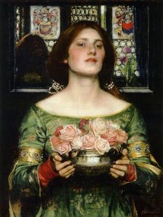John William Waterhouse (English Pre-Raphaelite painter) 1849 - 1917  Gather Ye Rosebuds While Ye May, 1908  oil on canvas  61.6 cm × 45.7 cm. (24.3 in × 18.0 in)