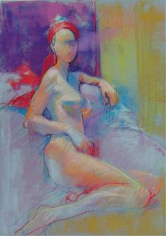 Colorful Pastel Figure Drawing of Model Wearing a Red Scarf - Original Fine Art Drawing, via Etsy.