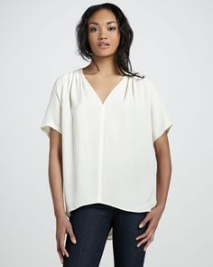 Washed Silk Short-Sleeve Top by Halston Heritage at Bergdorf Goodman.