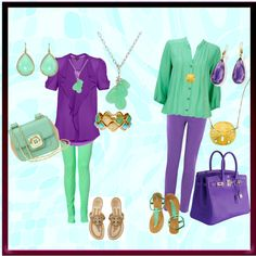 Mint green and Purple, created by eroomanner on Polyvore