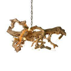 Driftwood chandelier lamper genbrug og indretning for Chandelier bois flotte