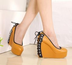 New Arrival Stylish Back Lace-up High Heel Wedges Brown - $39.3 on @ClozetteCo