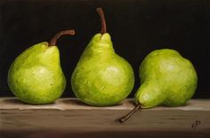 """Pear trio"" - Original Fine Art for Sale - © Jane Palmer"