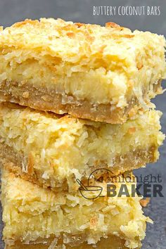 You'll never guess that these rich coconut bars are made with the simplest pantry ingredients can be so sinfully decadent. Coconut Desserts, Coconut Recipes, Just Desserts, Baking Recipes, Delicious Desserts, Dessert Recipes, Yummy Food, Bar Recipes, Italian Desserts