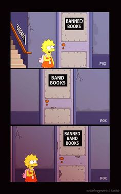 banned books pun simpsons cartoon