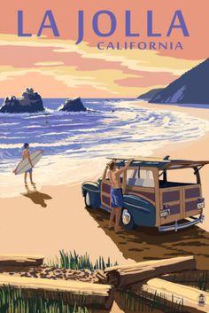 La-Jolla-California-Woody-on-Beach-Art-Print-4-Sizes
