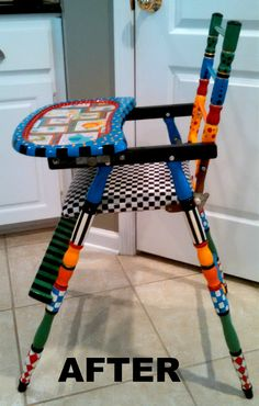 upcycled high chair for grandson; after photo