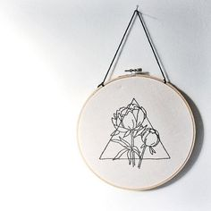 Triangle and Peony Hand Embroidered Wall Art, Geometric, Floral, Prism, triangle, modern, home decor, embroidery, fiber art, gallery wall #modernhomedecor