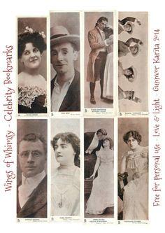 Wings of Whimsy: Vintage Celebrity Bookmarks - free for personal use #vintage #ephemera, #bookmark #reading #printable #freebie