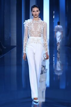 ralph and russo fall winter 2014 2015 couture look 4 white pant embellished long sleeve top -- Ralph & Russo Fall/Winter Haute Couture Collection Ralph & Russo, Rene Russo, Couture Fashion, Runway Fashion, Paris Fashion, Couture 2015, Couture Bridal, Couture Looks, Evening Dresses