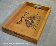 DIY Serving Tray - love this; tutorial: http://followyourheartwoodworking.blogspot.ca/2013/08/serving-trays-made-from-pine.html