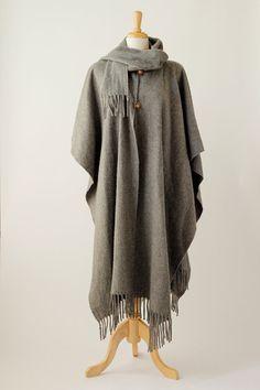 1970's vintage grey wool poncho