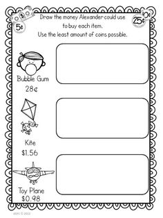 Math Mentor Text - Alexander, Who Used To Be Rich Last Sunday, Freebie! Teaching Money, Teaching Activities, Math Resources, Teaching Math, Money Activities, Teaching Ideas, 2nd Grade Teacher, Third Grade Math, Second Grade