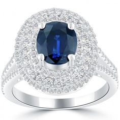 4.05 Carat Natural Blue Sapphire & White Diamond Cocktail Fashion Ring 14k Gold - Thumbnail 1