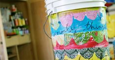 "Cute ""bucket"" bucket garbage can tutorial...from the talented Melody Ross of Brave Girls Club"