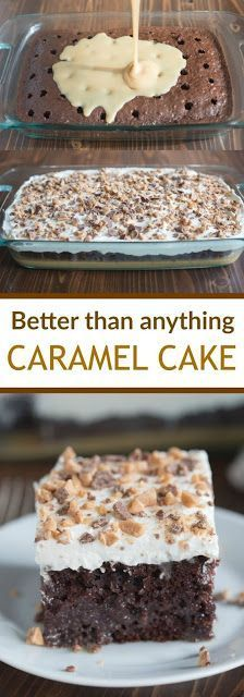 than Anything Cake made with caramel sauce and fresh whipped cream. This Better than Anything Cake made with caramel sauce and fresh whipped cream. -Better than Anything Cake made with caramel sauce and fresh whipped cream. 13 Desserts, Delicious Desserts, Yummy Food, Healthy Desserts, Carmel Desserts Easy, Healthy Recipes, Caramel Deserts, Dinner Healthy, Healthy Food