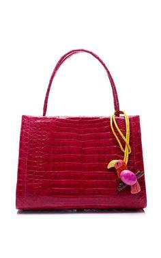 benny's board - future wifey - Pink Crocodile Handbag With Pink Parrot Charm by Nancy Gonzalez for Preorder on Moda Operandi Crocodile Hunter, Crocodile Handbags, T Bag, I Believe In Pink, Nancy Gonzalez, Leather Art, Beautiful Bags, Fashion Handbags, Handbag Accessories