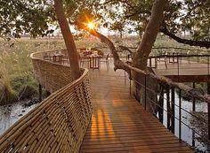 O lugar é um verdadeiro paraíso em Botswana! Aqui, algumas mesas foram colocadas sob o dossel de árvores (Foto: Divulgação)