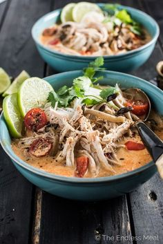 Crock Pot Thai Chicken Soup is a lightened up, and super easy to make, version of Thai chicken curry. It's also one of the few slow cooker chicken recipes that cooks for 8-10 hours so you can pop everything in before work and come home to dinner. This has turned into one of our favorite healthy recipes! | http://theendlessmeal.com