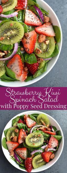 minus pies Strawberry Kiwi Spinach Salad with Poppy Seed Dressing is full of fresh flavors and crunch with candied nuts, red onions, fresh strawberries and kiwi and baby spinach topped with a homemade healthier poppy seed dressing! Baby Spinach Salads, Spinach Salad Recipes, Healthy Salad Recipes, Kiwi Recipes, Organic Recipes, Baby Food Recipes, Food Baby, Clean Eating Recipes, Clean Eating Snacks