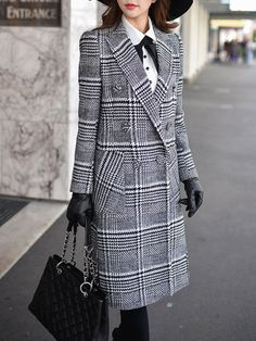 Long Sleeve Lapel Slit Houndstooth Elegant Coat
