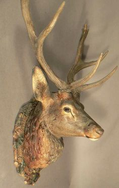 buy antique deer heads, stag heads and other trophys direct from the south of germany. in our gallery you'll find a selection a fine rustic and black forest antiques. Deer Heads, Stag Head, Tree Carving, Wood Carving, Ohh Deer, Forest Design, Deer Art, Antique Signs, Western Furniture