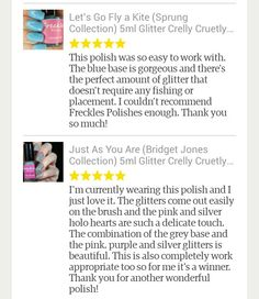 A couple of absolutely amazing reviews on Etsy for Let's Go Fly A Kite and Just As You Are. Both available in my Etsy shop, Www.etsy.com/shop/frecklespolish  I really appreciate such positivity feedback. #frecklespolish #nailsforyummies #nailpolish #nailaddict #nailsofinstagram #nailvarnish #nailporn #nailart #nailpromote #nailstagram #nailartnews #nails #ukindies #ukindieswatch #ukindienews #ukindie #ukindiepolish #instanails #indie #ignails #indiepolish #indiepolishcreator #glitter