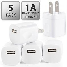 5 PC Rapid USB AC Universal Power Home Wall Travel Charger Adapter [ MIKASA TECH ] Compatible iPhone 6 6s PLUS 4 4S 5 5s 5c Samsung HTC [White]