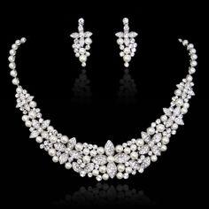 Bridal Jewlry Set Flower Pearl Necklace Earring by Voguejewelry4u, $43.99