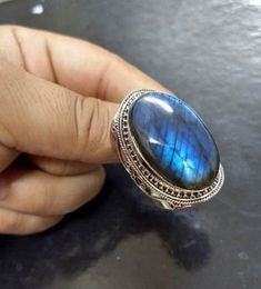 Labradorite ring for sale Oval gemstone ring Blue flash ring Labradorite gemstone Unisex ring personalized ring gift. Alexandrite Engagement Ring, Gemstone Engagement Rings, Labradorite Jewelry, Gemstone Jewelry, Diamond Jewelry, Silver Jewelry, Silver Earrings, Moonstone Ring, Big Wedding Rings