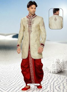 Baronial Beige Pure Silk Sherwani Model: YOSHV465