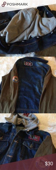 Hudson Jacket Men's Hudson denim patch jacket with removable hood slim size pocket H By Hudson Jackets & Coats Performance Jackets