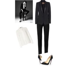 A fashion look from November 2014 featuring Vince Camuto blouses, Roberto Cavalli blazers and Yves Saint Laurent pants. Browse and shop related looks.
