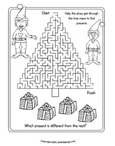 Christmas Tree Maze Free Coloring Pages for Kids - Printable Colouring Sheets