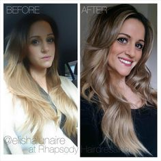 """Elisha Lunaire on Instagram: """"I love a happy client! Here is a before and after of an Ombré to Balayage colour I did, sent to me by my client herself ❤️ #hairdressing #beforeandafter #ombré #balayage #colourmelt #painted hair #blonde #faceframinghighlights #happyclient #hair #hairart #rhapsodyhair #paulmitchell #goldwell #schwarzkopf #elumen #wella #creativecolor #curls #hairdressinglife #salonlife #freelights #hairbyelisha #unicorntribe #mermaidhair"""""""