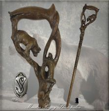 "BEAR & GAZELLE HANDLE CARVED OAK WOOD WALKING STICK CANE 35-39"""