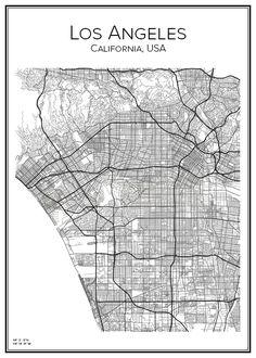 Handritad affisch över Los Angeles i Kalifornien i USA. Här kan du beställa stadskarta över din stad och andra svenska samt utländska städer.